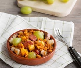 Migas con chorizo y uvas (HESTAN CUE)