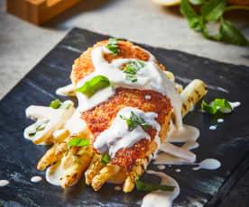 Pollo con costra de parmesano y crema de limón