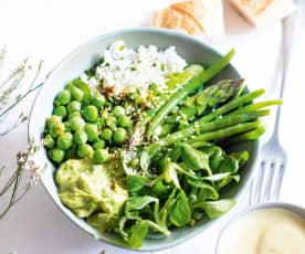 Bowl de légumes tout vert