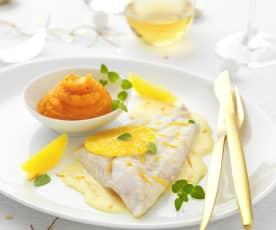 Turbot au beurre d'orange et purée carotte-coco