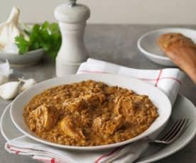 Stufato di lenticchie al curry e pollo
