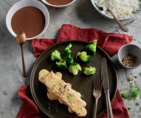 Salmon with Dill Cream Sauce, Broccoli and Basmati Rice; Chocolate Custard