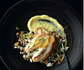 John Dory with cauliflower couscous and corn purée
