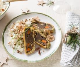 Pastel de judías rojas y verduras con arroz al cava