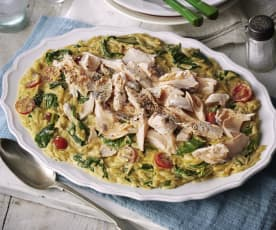 Orzo with Salmon and Spinach
