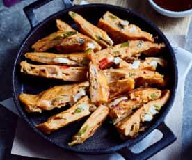 Pfannkuchen mit Meeresfrüchten (海鲜泡菜煎饼)