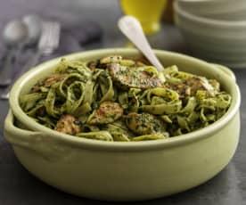 Chicken with spinach and almond pesto tagliatelle