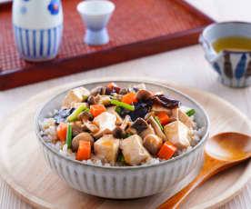 鹽麴野菇豆腐蓋飯