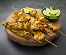 Turmeric lime chicken skewers