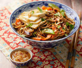 Chilli and Peanut Noodles with Tofu and Chilli Garlic Oil