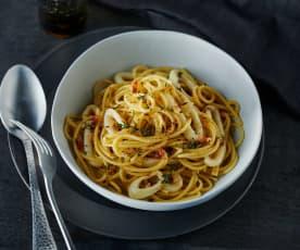 Tintenfischringe aglio e olio