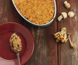 Empadão de arroz com cogumelos e frango