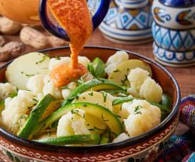 Verduritas en salsa cacahuate y chile de árbol seco