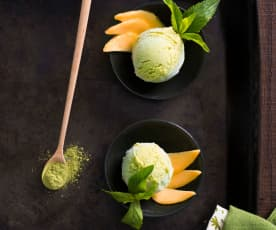 Matcha and mango frozen yoghurt