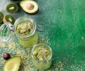 Overnight oat de abacate e kiwi