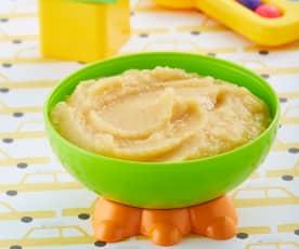 Papilla de plátano, durazno y manzana