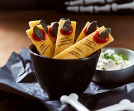 Kartoffel-Cheddar-Finger mit Schnittlauchdip