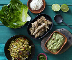 Jalapeño Chicken Lettuce Wraps with Guacamole