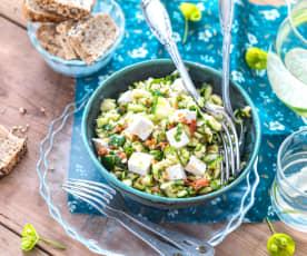 Salade de courgette, tomate séchée et feta