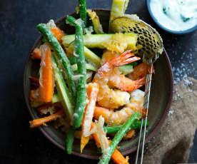 Tempuras de légumes et crevettes