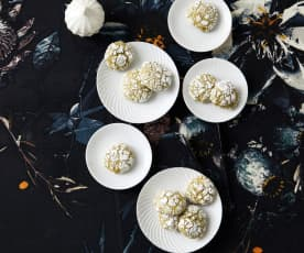 Matcha-Aprikosen-Schneebälle