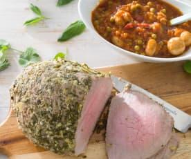 Redondo en costra de aromáticas con salsa de carne