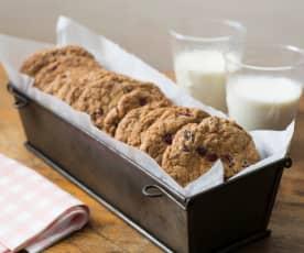 Choc chunk and pomegranate oatmeal cookies