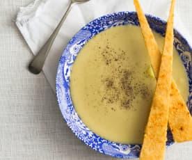 Jerusalem artichoke soup with cheese shards