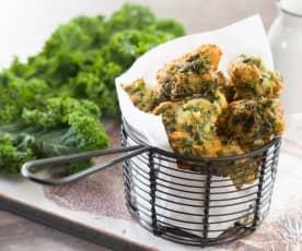 Buñuelos de kale y gorgonzola