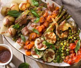 Panaché de verduras de primavera con vinagreta de fresas
