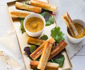 Camembert-Sticks mit Aprikosendip