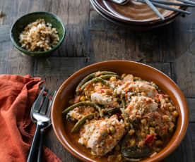 Herb-salted chicken and chickpea casserole