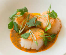 Seared Scallops with Carrot and Ginger Sauce (Hestan Cue™)