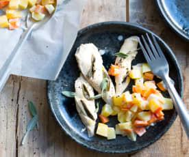 Poulet à la sauge, légumes à la crème
