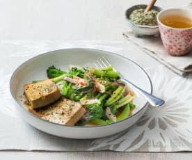 Honey ginger tofu with greens