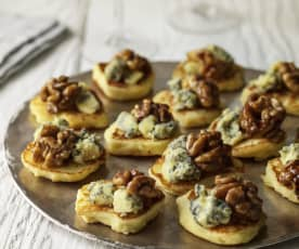 Parsnip Blinis with Stilton, Walnuts and Honey