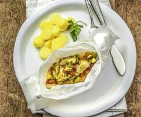 Steinbutt-Gemüse-Päckchen