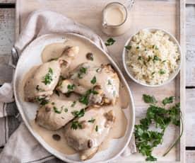 Kurczak w białym sosie z ryżem (ferkase)