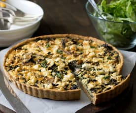 Silverbeet quiche with oat and Parmesan crust