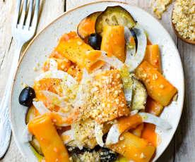 Rigatoni, fenouil, aubergine et sauce crémeuse