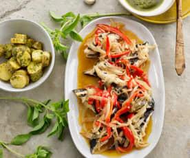 Escabeche de peixe-espada com batatinha nova e molho de mostarda