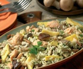 Insalata di riso, funghi e salmone