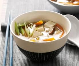Sopa de miso con vegetales