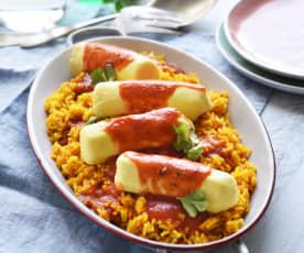 Quenelles de brochet, riz à paëlla et tomate