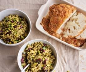 Salada de arroz integral com couve-flor assada