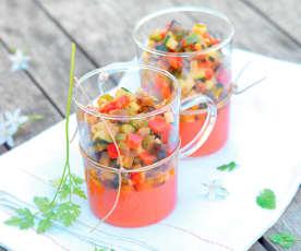Verrine de ratatouille et gelée de tomate