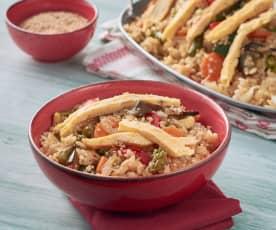 Salteado de arroz con verduras y tortilla