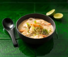 Steamed coconut and prawn soup