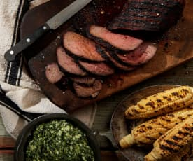 Grilled Tri-Tip with Creamed Spinach
