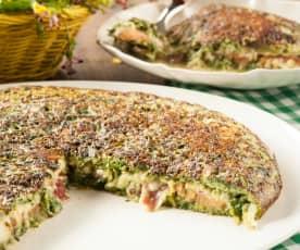 Tortilla de acelga rellena de tomate, queso y jamón serrano